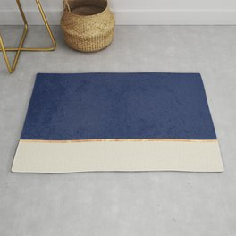 Navy Blue Gold Greige Nude Rug