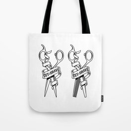 Hairdressing scissors isolated on white background Tote Bag