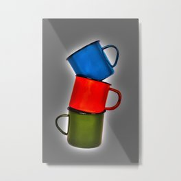 Vintage green, blue, red enamel mugs in modern look Metal Print