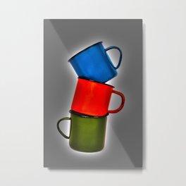 Vintage green, blue, red enamel mugs in modern look Metal Print