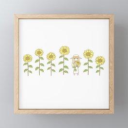 Sunflower Girl Framed Mini Art Print
