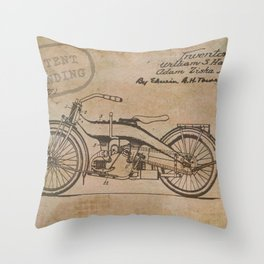 Original Motorcycle Drawing Sketch with Signatures Throw Pillow