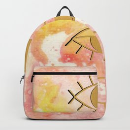 Blush Pink Gradient with Gold Evil Eyes Backpack