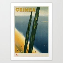 Crimea Vintage Travel Poster Colorful Mid Century Art Art Print