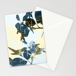Tropical Leaves Blue Stationery Cards