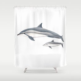 Long-beaked dolphin and baby Shower Curtain