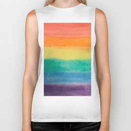 Large Hand Painted Watercolor Gay Pride Rainbow Equality and Freedom Flag Biker Tank