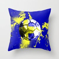 sweden Throw Pillows featuring football Sweden  by seb mcnulty