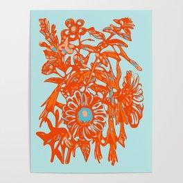 Orange and blue floral pattern Poster