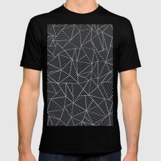 Abstract Lines 2 White on Grey MEDIUM Black Mens Fitted Tee