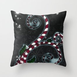 Candy Cane Vine Throw Pillow