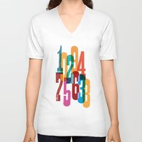 numbers V-neck T-shirts featuring Numbers by Marco Campedelli