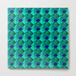 Volumetric pattern of convex squares with light blue mosaic diamond-shaped highlights and a checkerb Metal Print