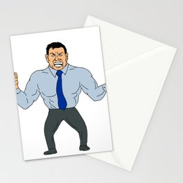 Angry Businessman Cartoon Stationery Cards