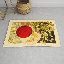 Japanese Ginkgo Hand Fan Vintage Illustration Rug
