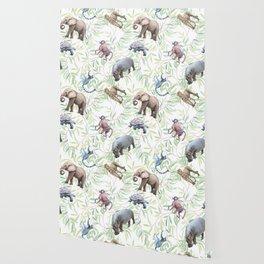 Wild animals African watercolor pattern. Wallpaper