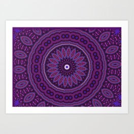 Lovely Healing Mandalas in Brilliant Colors: Purple, Raspberry, Grape, Wine, and White Art Print
