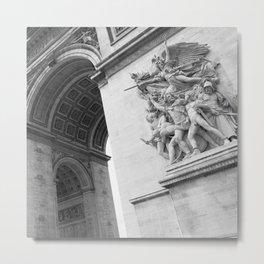 Arc De Triomphe Paris France Art Photography Print Black and White Monochrome Metal Print