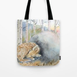 On the Stone, Fawn sleeping on stone Tote Bag