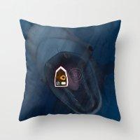 fishing Throw Pillows featuring fishing by Ersen-T
