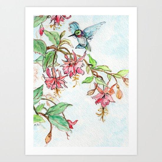 Honeysuckle Hummingbird Art Print