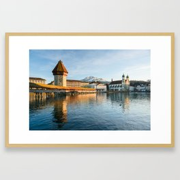 Chapel Bridge in Luzern with Pilatus in the Background, Switzerland Framed Art Print