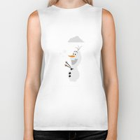 olaf Biker Tanks featuring Olaf (Frozen) by Robert Woods