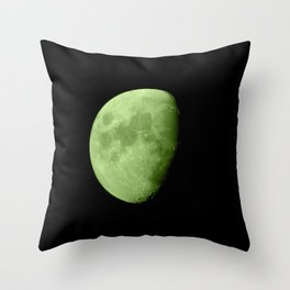 4K Dark Side of the Moon Lime Green Throw Pillow