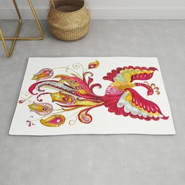 Watercolor Firebird Phoenix Fantasy Bird with Red Pink Yellow Feathers Rug