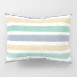 Biscay Green Faded Denim Sunlight Stripe Pattern Pillow Sham