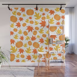Colorful leaves and pumpkins Wall Mural