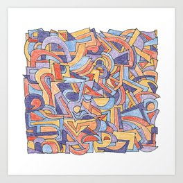 Party in Orange and Blue Art Print