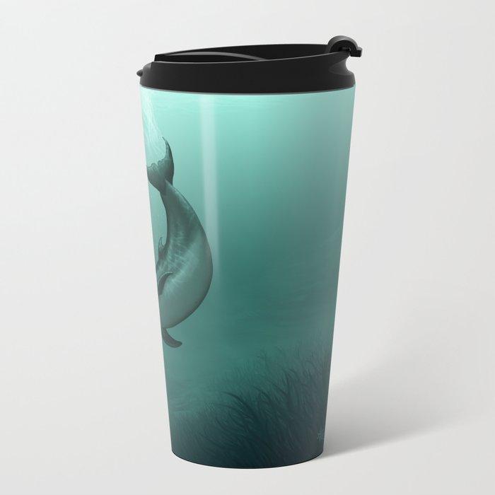 """Siren of the Lagoon"" by Amber Marine ~ Indian River Lagoon Bottlenose Dolphin Art, (Copyright 2015) Metal Travel Mug"
