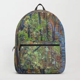 Deep in the Woods, Impressionism Landscape, Rustic Earth Tone Colors Backpack