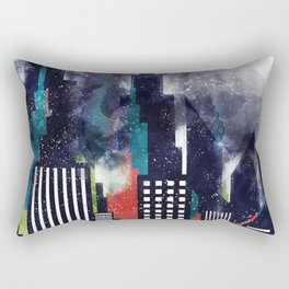 New York City Skyscrapers In Watercolor Art, City Skyline Art, New York Poster, Wall Art Home Rectangular Pillow