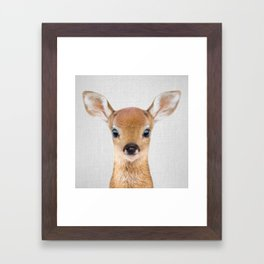 Baby Deer - Colorful Framed Art Print