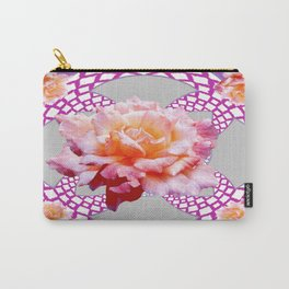 Antique Yellow-Magenta Roses Purple-Grey Pattern Art Carry-All Pouch