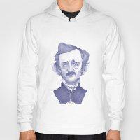 edgar allan poe Hoodies featuring Edgar Allan Poe illustration by Stavros Damos