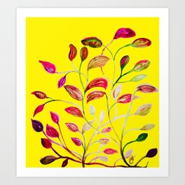 Red and Green Leaves! Yellow Sunshine! Art Print