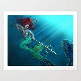 Not so little mermaid... Art Print