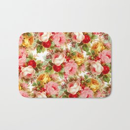 Boho chic pink yellow red roses floral vintage painting Bath Mat