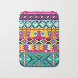 Seamless colorful aztec pattern with birds Bath Mat