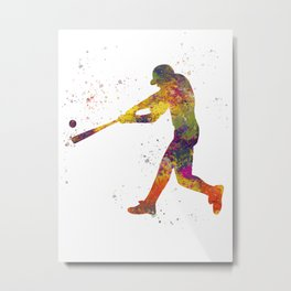 Baseball player isolated 01 in watercolor Metal Print