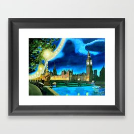 Houses of Parliament and Big Ben at Night Framed Art Print