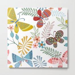 Butterfly Art, Colourful Prints, Kids Art Prints Metal Print