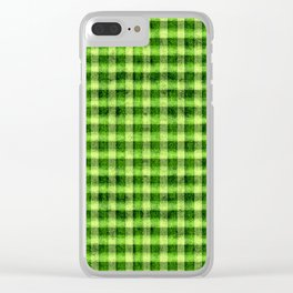 Lime Green and Yellow Gingham Faux Velvet Clear iPhone Case