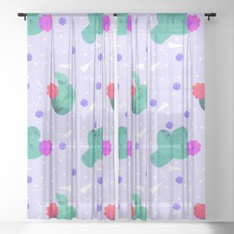 Hello Cactus Lavender Background Sheer Curtain