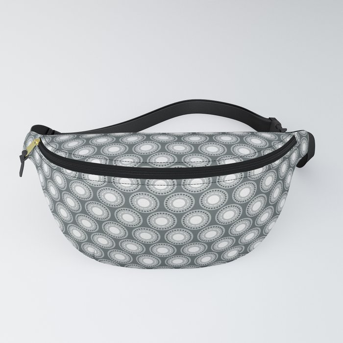 White Polka Dots and Circles Pattern on PPG Night Watch Pewter Green Fanny Pack