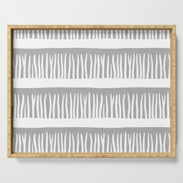 Abstract Blades of Grass in Grey Serving Tray
