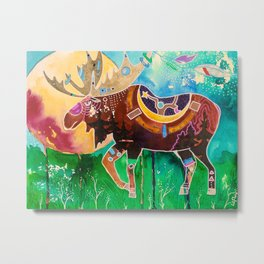 Fantastic Moose - Animal - by LiliFlore Metal Print